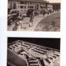 Wagenkolonne (oben) und Modell der Böhler-Siedlung (unten)