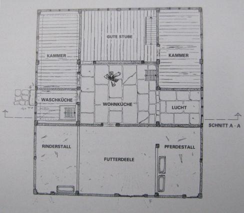 Grundriss des Erdgeschosses (Rekonstruktion)