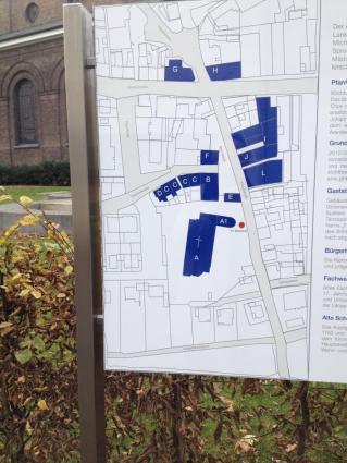 Ausschnitt: Lage der historischen Gebäude