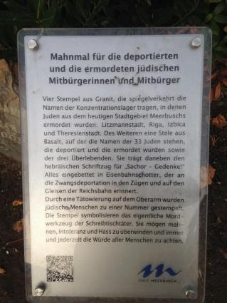 Info-Tafel am jüdischen Mahnmal Ecke Hauptstraße/Kemper Allee