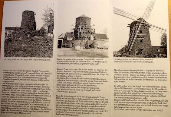 Flyer (Rückseite) mit Infos zur Teloy-Mühle - vom Verfall (1956) zum Kulturzentrum (1982)