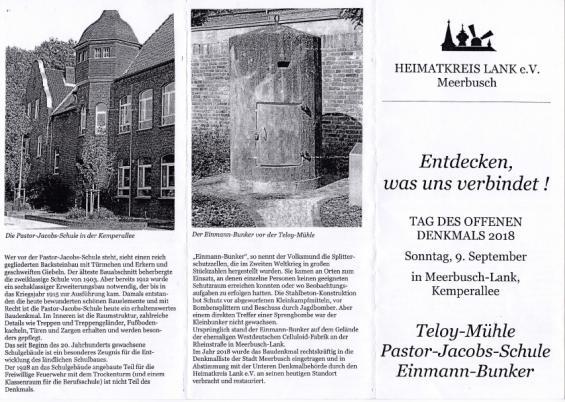 Flyer (Vorderseite) mit Infos zur Pastor-Jacobs-Schule und zum Einmann-Bunker