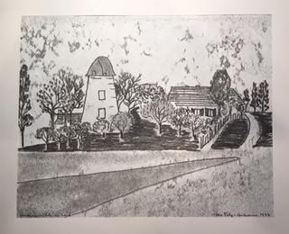 Monotypie der Meerbuscher Künstlerin Ilse Petry-Ambrosius aus dem Jahre 1977