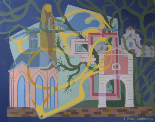 """Gemälde """" Haus Meer"""" (Acryl 70 x 90 cm) der Meerbuscher Künstlerin Ilse Petry-Ambrosius"""